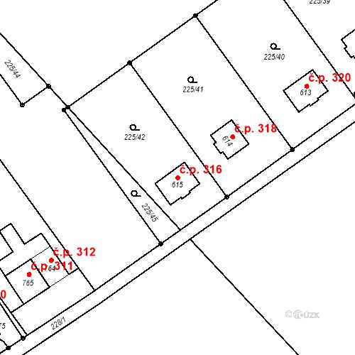 Katastrální mapa Stavební objekt Nová Ves 316, Nová Ves