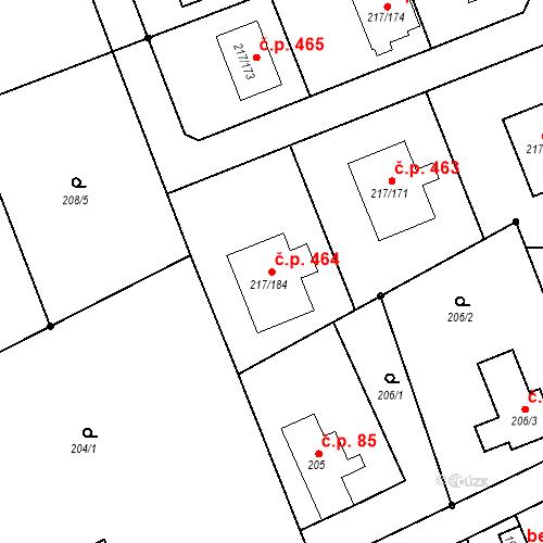Katastrální mapa Stavební objekt Liberec XIX-Horní Hanychov 464, Liberec