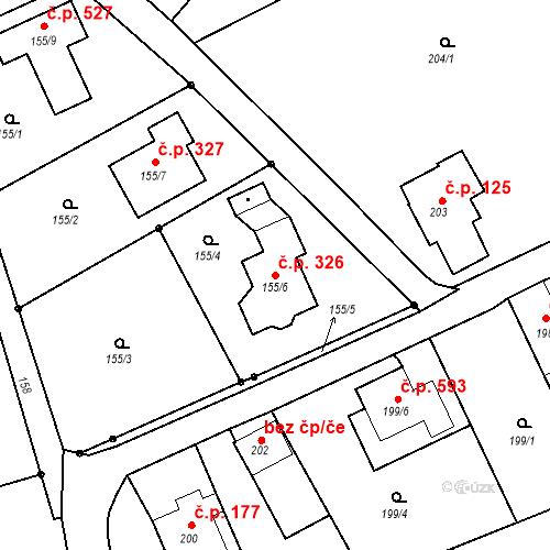 Katastrální mapa Stavební objekt Liberec XIX-Horní Hanychov 326, Liberec