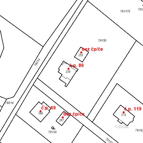 Katastrální mapa Stavební objekt Petkovy 89, Petkovy