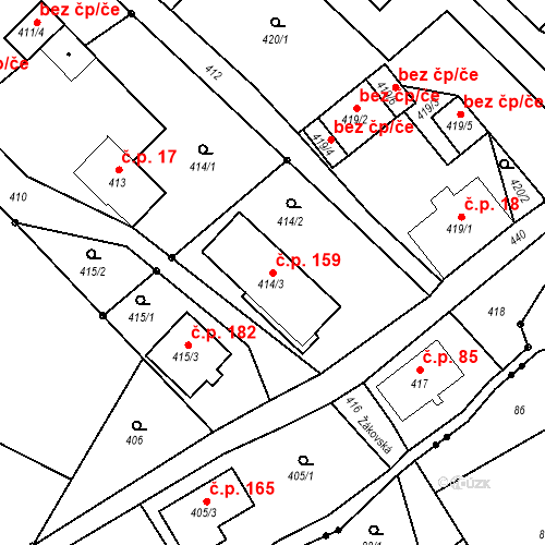 Katastrální mapa Stavební objekt Liberec XXII-Horní Suchá 159, Liberec