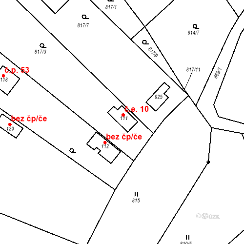 Katastrální mapa Stavební objekt Dneboh 10, Mnichovo Hradiště