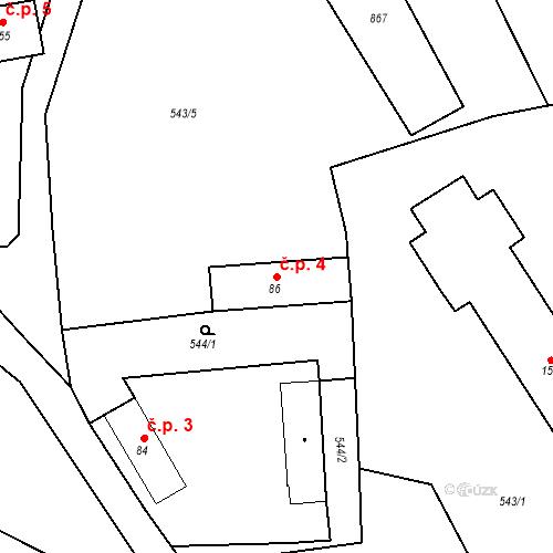Katastrální mapa Stavební objekt Koryta 4, Koryta