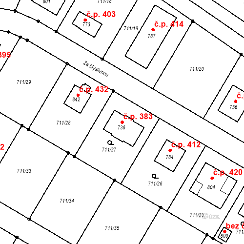 Katastrální mapa Stavební objekt Sokoleč 383, Sokoleč