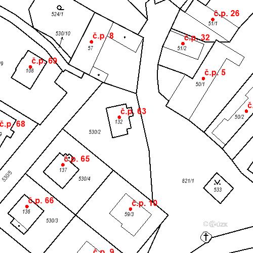 Katastrální mapa Stavební objekt Dneboh 63, Mnichovo Hradiště