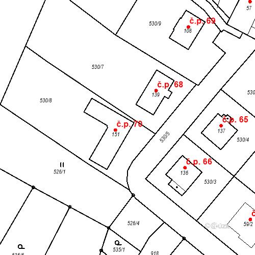 Katastrální mapa Stavební objekt Dneboh 70, Mnichovo Hradiště