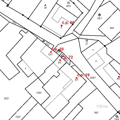 Katastrální mapa Stavební objekt Maříž 72, Slavonice