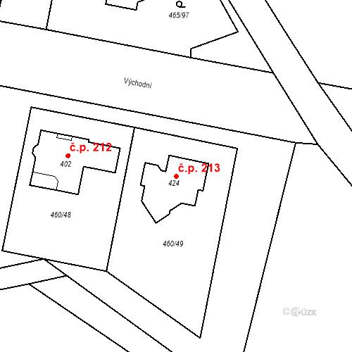 Katastrální mapa Stavební objekt Bobnice 213, Bobnice