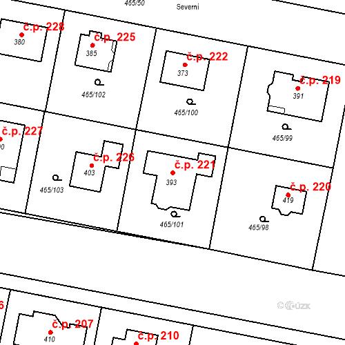 Katastrální mapa Stavební objekt Bobnice 221, Bobnice