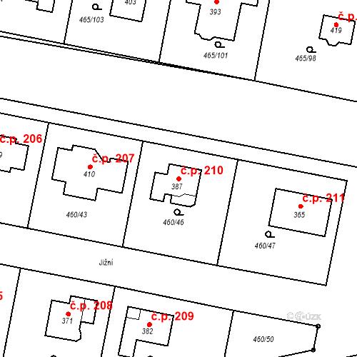 Katastrální mapa Stavební objekt Bobnice 210, Bobnice