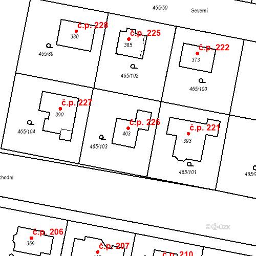 Katastrální mapa Stavební objekt Bobnice 226, Bobnice