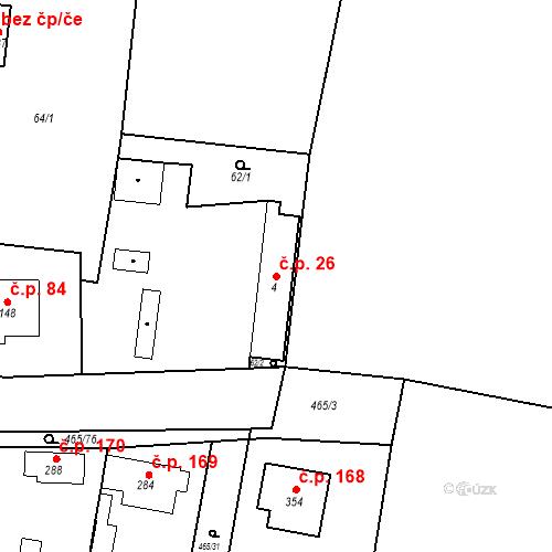 Katastrální mapa Stavební objekt Bobnice 26, Bobnice