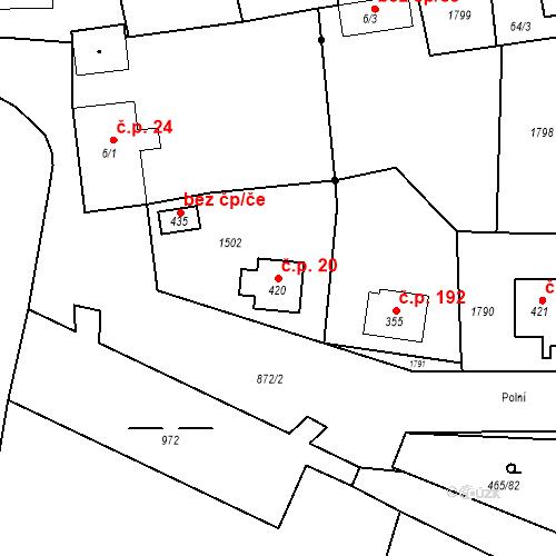 Katastrální mapa Stavební objekt Bobnice 20, Bobnice