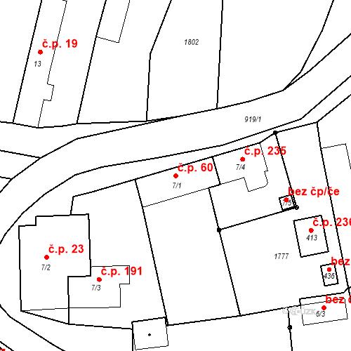 Katastrální mapa Stavební objekt Bobnice 60, Bobnice