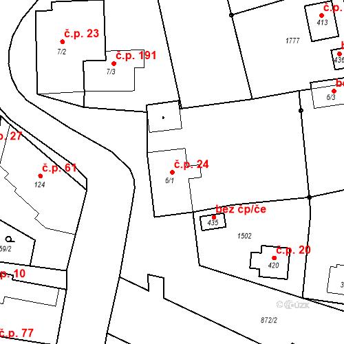 Katastrální mapa Stavební objekt Bobnice 24, Bobnice