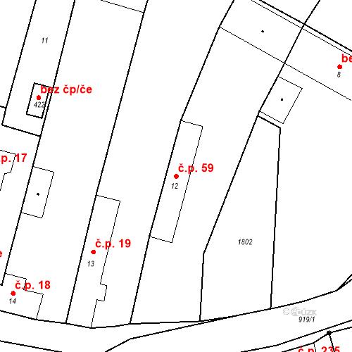Katastrální mapa Stavební objekt Bobnice 59, Bobnice