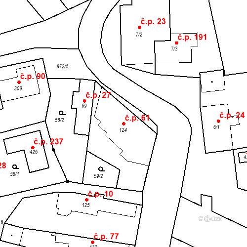 Katastrální mapa Stavební objekt Bobnice 61, Bobnice
