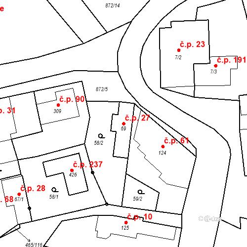 Katastrální mapa Stavební objekt Bobnice 27, Bobnice