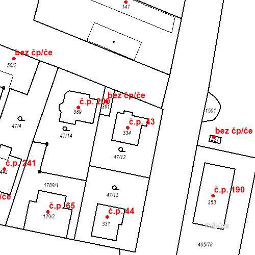Katastrální mapa Stavební objekt Bobnice 43, Bobnice