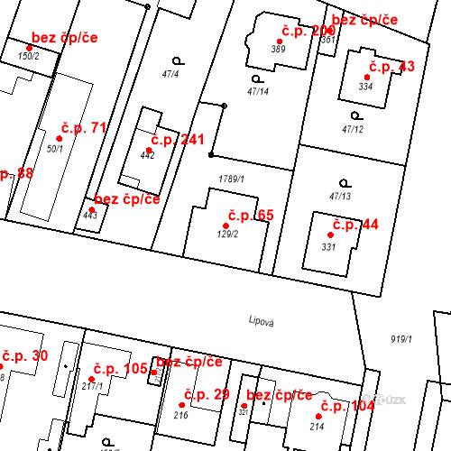 Katastrální mapa Stavební objekt Bobnice 65, Bobnice