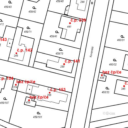 Katastrální mapa Stavební objekt Bobnice 141, Bobnice