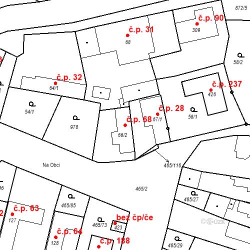 Katastrální mapa Stavební objekt Bobnice 68, Bobnice