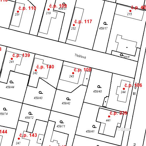 Katastrální mapa Stavební objekt Bobnice 108, Bobnice