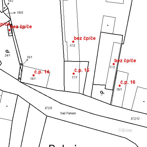 Katastrální mapa Stavební objekt Bobnice 15, Bobnice
