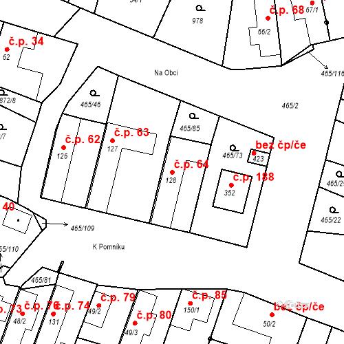 Katastrální mapa Stavební objekt Bobnice 64, Bobnice