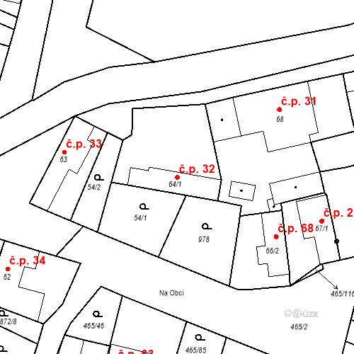 Katastrální mapa Stavební objekt Bobnice 32, Bobnice