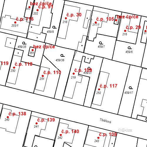 Katastrální mapa Stavební objekt Bobnice 109, Bobnice