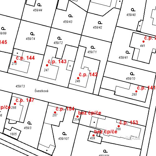 Katastrální mapa Stavební objekt Bobnice 142, Bobnice