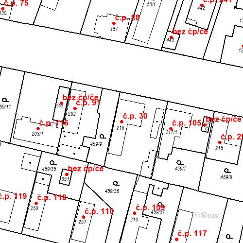 Katastrální mapa Stavební objekt Bobnice 30, Bobnice