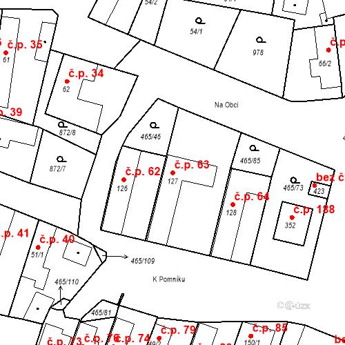 Katastrální mapa Stavební objekt Bobnice 63, Bobnice
