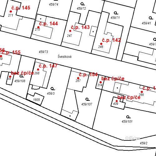 Katastrální mapa Stavební objekt Bobnice 154, Bobnice