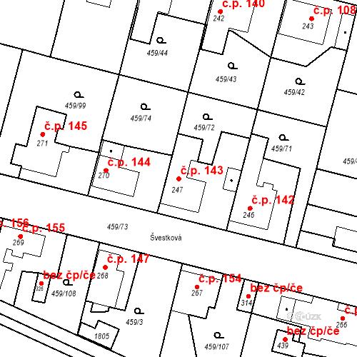 Katastrální mapa Stavební objekt Bobnice 143, Bobnice