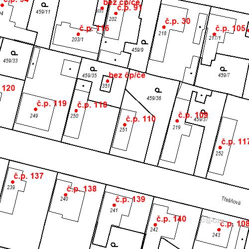 Katastrální mapa Stavební objekt Bobnice 110, Bobnice