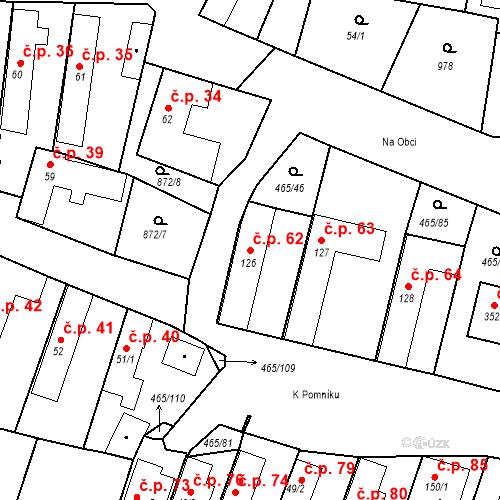 Katastrální mapa Stavební objekt Bobnice 62, Bobnice
