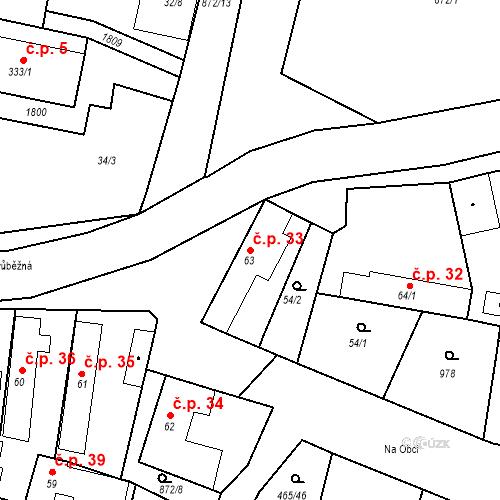 Katastrální mapa Stavební objekt Bobnice 33, Bobnice