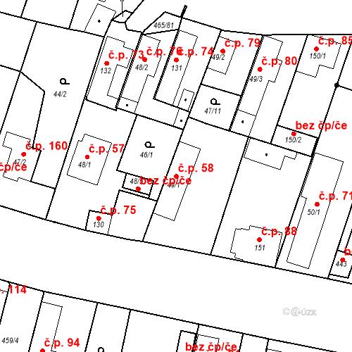 Katastrální mapa Stavební objekt Bobnice 58, Bobnice