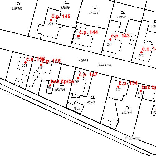 Katastrální mapa Stavební objekt Bobnice 147, Bobnice