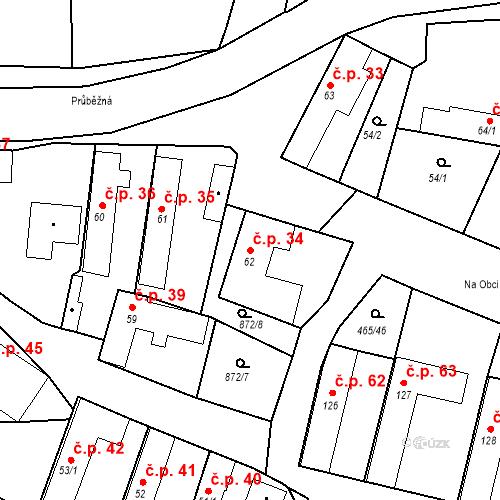 Katastrální mapa Stavební objekt Bobnice 34, Bobnice