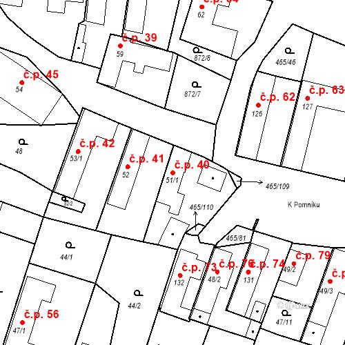 Katastrální mapa Stavební objekt Bobnice 40, Bobnice