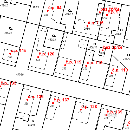 Katastrální mapa Stavební objekt Bobnice 119, Bobnice