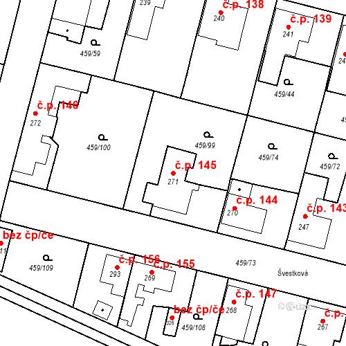 Katastrální mapa Stavební objekt Bobnice 145, Bobnice