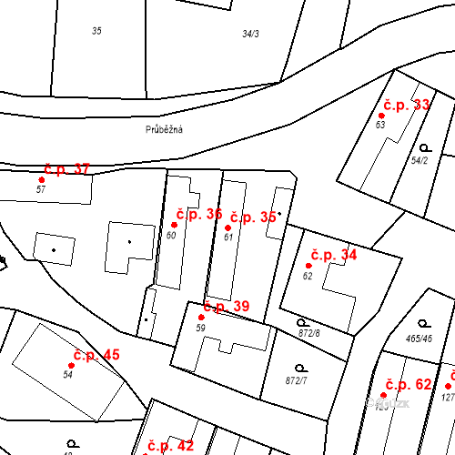 Katastrální mapa Stavební objekt Bobnice 35, Bobnice