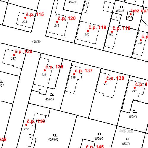 Katastrální mapa Stavební objekt Bobnice 137, Bobnice