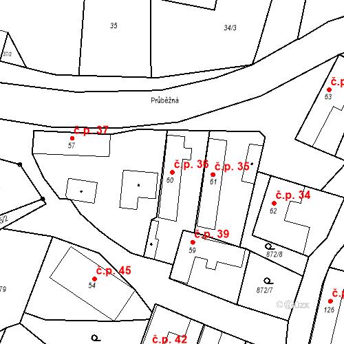 Katastrální mapa Stavební objekt Bobnice 36, Bobnice