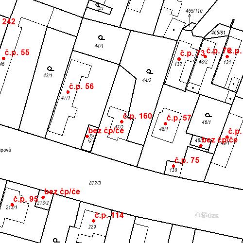 Katastrální mapa Stavební objekt Bobnice 160, Bobnice