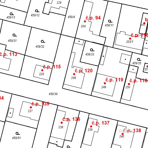 Katastrální mapa Stavební objekt Bobnice 120, Bobnice